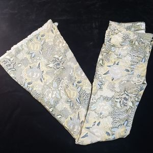 Free People Women's Jeans Floral Bell Bottoms
